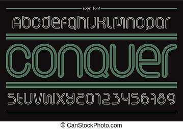 conquer - set of sport style alphabet letters and numbers...