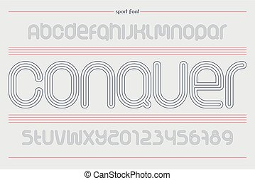 conquer sport - set of sport style alphabet letters and...