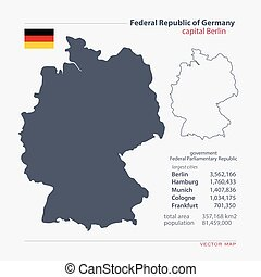 germany - Federal Republic of Germany isolated maps and...