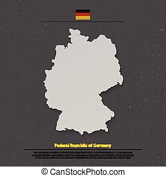 germany shadow - Federal Republic of Germany map and...
