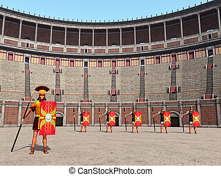 Legionaries in the Colosseum - Computer generated 3D...