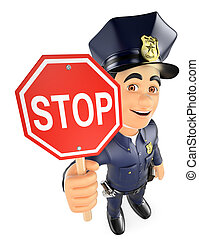 3D Policeman with a stop sign - 3d security forces people...