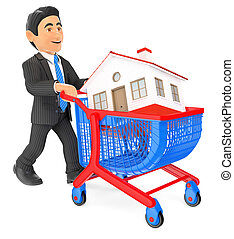 3D Businessman pushing a shopping cart with a house. Real estate
