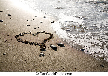 Heart at the beach