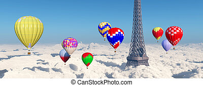 Eiffel Tower and hot air balloons - Computer generated 3D...