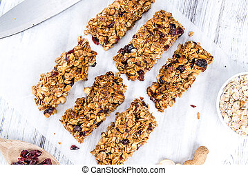 Homemade Granola Bars with Peanuts and Cranberries...