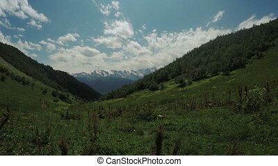View of mountain peaks mountains Svaneti - Camera moves on...