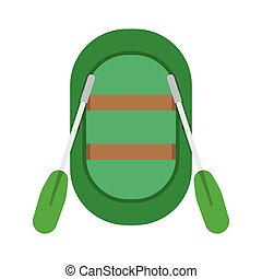 Inflatable boat vector illustration Rafting boat icon...