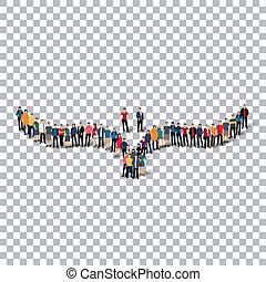 bird  isometrick people   3d