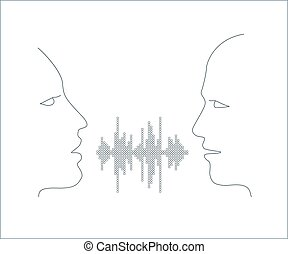 Vector illustration of two people talk face to face....