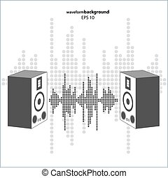 Vector sound wave with speakers. Equalizer Music polygons...