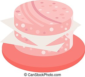 Salami slice vector illustration - Salami sausage slices...