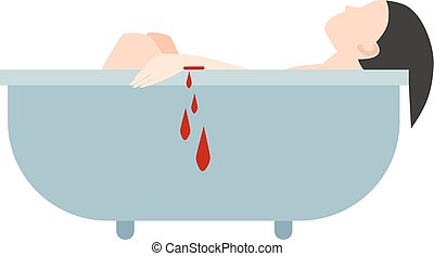Suicide bath vector illustration. - Bath sink stained with...