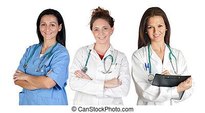 equipe, jovem, doutores