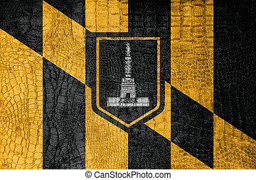 Flag of Baltimore, Maryland, on a luxurious, fashionable...