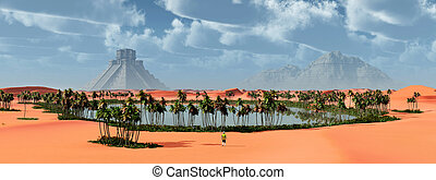 Landscape and Mayan temple - Computer generated 3D...
