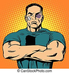 Strong man after a fight pop art retro vector The bruises...