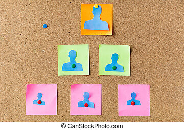 close up of paper human shapes on cork board - business,...