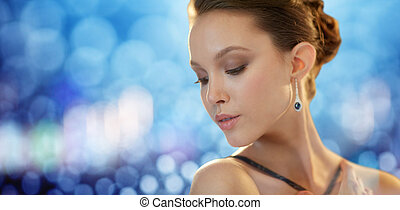 beautiful young asian woman with earring - beauty, jewelry,...