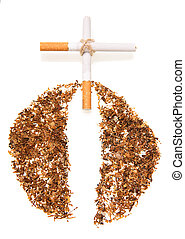 Cross of cigarettes isolated on white. - Cross of cigarettes...
