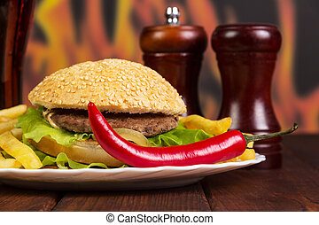 Hamburger, french fries, chili and spices on background...