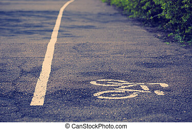 Separate bicycle lane symbols on asphalt - Separate lane for...