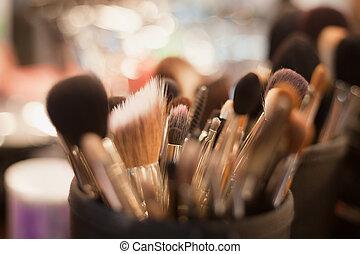 Professional visagiste brushes for make up - Close up of...