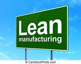 Manufacuring concept: Lean Manufacturing on road sign...