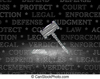 Law concept: Gavel in grunge dark room - Law concept:...