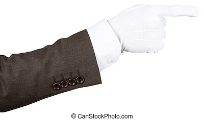 Butlers gloved hand pointing isolated over white background