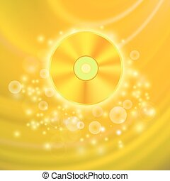 Gold Compact Disc Isolated on Yellow Wave Blurred Background