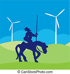 Don Quijote vector illustration cartoon silhouette