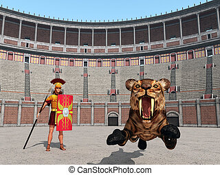 Animal attack in the Colosseum - Computer generated 3D...