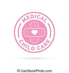 Medical child care badge symbol with pink heart and plaster icon.