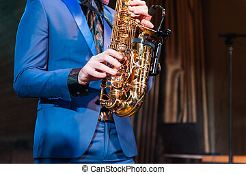 Saxophone player jazz music instrument Saxophonist with...