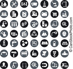 Vector industry factory icons set