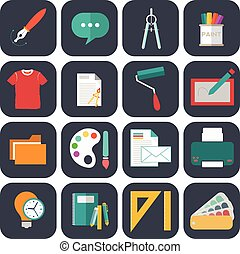 Graphic  web design icons flat style.