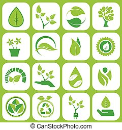 Ecology icons set on grey