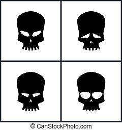 Silhouette Skull Isolated on White - Four Types of Skulls...