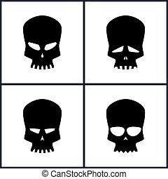 Silhouette Skull Isolated on White - Four Types of Skulls...