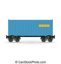 Platform with Blue Container Isolated on White - Container,...