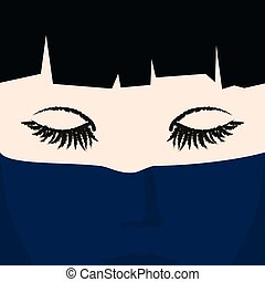 Face of a Young Girl under Dark Blue Veil