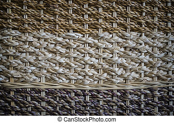 Traditional style pattern nature background of brown handicraft woven straw