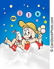 Milk and Ice Cream - Person in a inner tube with milk and...
