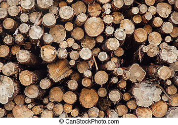 pine logs stacked in a pile on a green grass