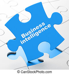 Finance concept: Business Intelligence on puzzle background