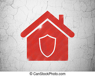 Business concept: Home on wall background