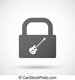 Isolated lock pad icon with an electric guitar -...