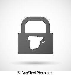 Isolated lock pad icon with the map of Spain - Illustration...
