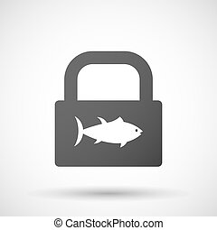 Isolated lock pad icon with a tuna fish - Illustration of an...
